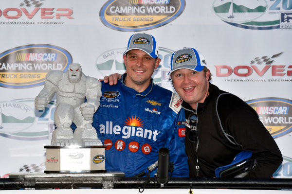 NASCAR Camping World Truck Series Bar Harbor 200 Dover International Speedway, Dover, DE USA Friday 2 June 2017 Johnny Sauter, Allegiant Airlines Chevrolet Silverado celebrates his win in Victory Lane World Copyright: Nigel Kinrade LAT Images ref: Digital Image 17DOV1nk06886