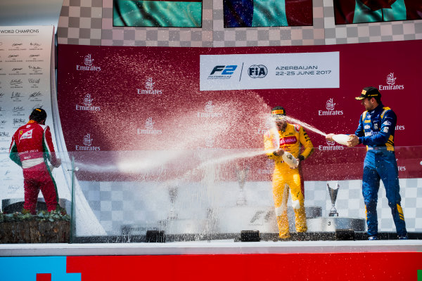 2017 FIA Formula 2 Round 4. Baku City Circuit, Baku, Azerbaijan. Sunday 25 June 2017. Charles Leclerc (MCO, PREMA Racing), Norman Nato (FRA, Pertamina Arden), Nicholas Latifi (CAN, DAMS)  Photo: Zak Mauger/FIA Formula 2. ref: Digital Image _56I8668