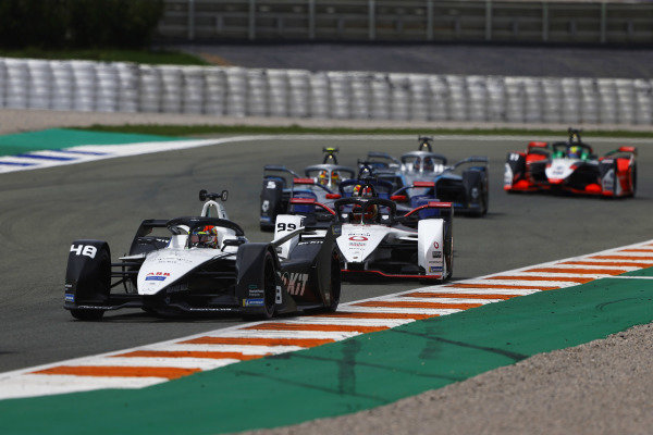 Edoardo Mortara (CHE), Venturi Racing, Silver Arrow 02, leads Pascal Wehrlein (DEU), Tag Heuer Porsche, Porsche 99X Electric, and Stoffel Vandoorne (BEL), Mercedes Benz EQ, EQ Silver Arrow 02