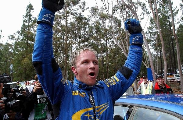 Rally winner Petter Solberg (NOR) Subaru celebrates victory at the end of the final stage.World Rally Championship, Rd10, Telstra Rally Australia, Day Three, Perth, Australia, 7 September 2003.DIGITAL IMAGE
