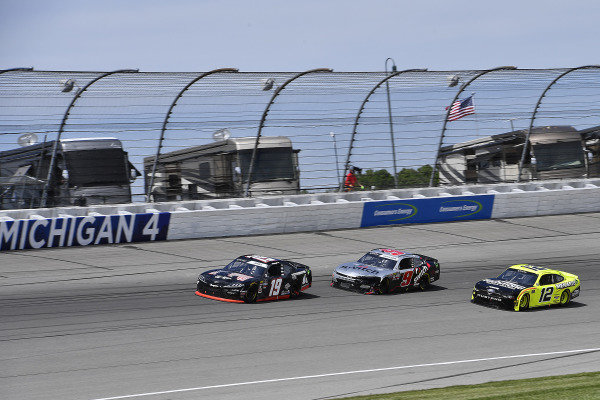 #19: Brandon Jones, Joe Gibbs Racing, Toyota Supra 1st Foundation, #9: Noah Gragson, JR Motorsports, Chevrolet Camaro Switch, and #12: Paul Menard, Team Penske, Ford Mustang Menards/Richmond