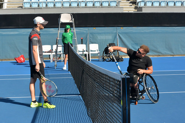 Romain Grosjean (FRA) Haas F1 and Dylan Alcott (AUS) Wheelchair Tennis Player at Formula One World Championship, Rd1, Australian Grand Prix, Preparations, Albert Park, Melbourne, Australia, Thursday 23 March 2017.