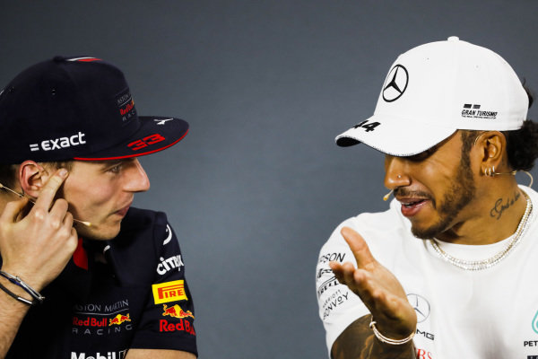 Max Verstappen, Red Bull Racing and Lewis Hamilton, Mercedes AMG F1 in Press Conference