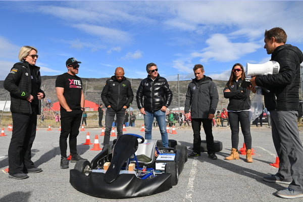 Emma Gilmour (NZL), Veloce Racing, Oliver Bennett (GBR), Hispano Suiza Xite Energy Team, Stephane Sarrazin (FRA), Veloce Racing, Alejandro Agag, CEO, Extreme E, Sebastien Loeb (FRA), X44, and Cristina Gutierrez (ESP), X44, at an e-karting event
