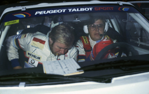 1000 Lakes Rally, Finland. 5th - 7th September 1986.Timo Salonen/Seppo Harjanne (Peugeot 205 T16 E2), 1st position, portrait. World Copyright: LAT PhotographicRef: 86RALLY04.