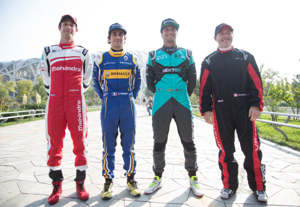 FIA Formula E Championship 2015/16. Beijing ePrix, Beijing, China. Famous offspring and Formula E driver's (L to R) Bruno Senna, Nico Prost, Nelson Piquet Jr and Jacques Villeneuve Beijing, China, Asia. Friday 23 October 2015 Photo:  / LAT / FE ref: Digital Image _L1_3255