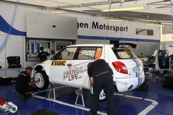 The Skoda Fabia S2000 of Christian Riedemann (GER) in the service park.World Rally Championship, Rd9, ADAC Rally Deutschland, Trier, Germany. Preparations, 17 August 2011.