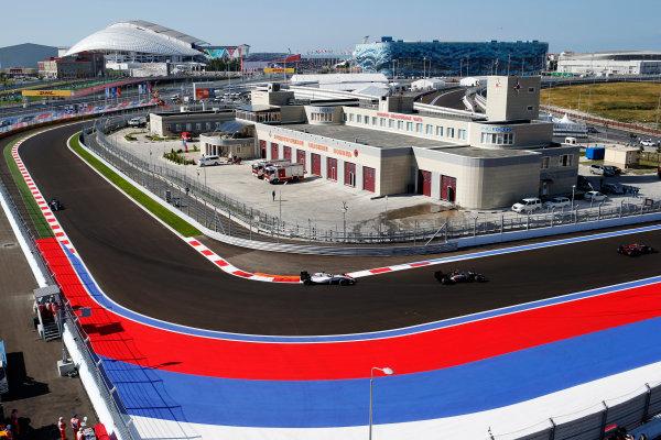Sochi Autodrom, Sochi, Russia. Friday 10 October 2014. Esteban Gutierrez, Sauber C33 Ferrari, leads Felipe Massa, Williams FW36 Mercedes. World Copyright: Glenn Dunbar/LAT Photographic. ref: Digital Image _89P0473