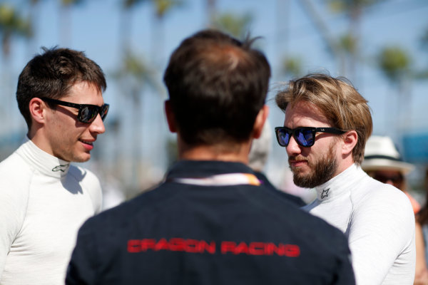 2014/2015 FIA Formula E Championship. Nick Heidfeld (GER)/Venturi Racing - Spark-Renault SRT_01E Loic Duval (FRA)/Dragon Racing - Spark-Renault SRT_01E Oriol Servia - Director of Racing at Dragon Racing.  Long Beach ePrix, Long Beach, California, United States of America. Saturday 4 April 2015  Photo: Adam Warner/LAT/FE ref: Digital Image _L5R7157