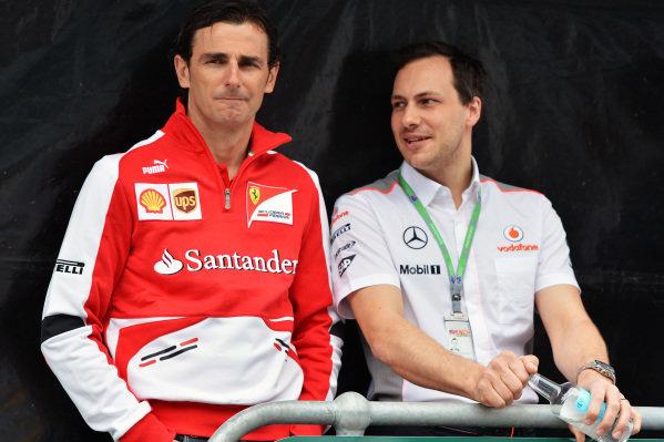 (L to R): Pedro De La Rosa (ESP) Ferrari Development Driver and Gary Paffett (GBR) McLaren test driver. Formula One World Championship, Rd1, Australian Grand Prix, Preparations, Albert Park, Melbourne, Australia, Thursday 14 March 2013.