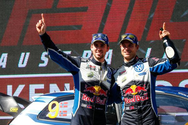 2016 FIA World Rally Championship, Round 14, Rally Australia, November 17-20, 2016, Andreas Mikkelsen, Anders Jaeger, Volkswagen, podium Worldwide Copyright: McKlein/LAT
