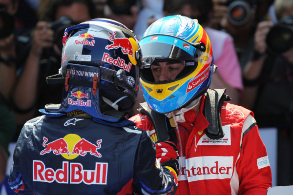 Race winner Sebastian Vettel (GER) Red Bull Racing and Fernando Alonso (ESP) Ferrari in parc ferme.  Formula One World Championship, Rd 5, Spanish Grand Prix, Race, Barcelona, Spain, Sunday 22 May 2011.  BEST IMAGE