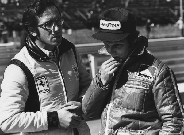 Watkins Glen, New York, USA. 4 - 6 October 1974. Niki Lauda (Ferrari 312B3), retired, with Mauro Forghieri in the pits, portrait.  World Copyright: LAT Photographic.  Ref:  6871 - 8-8A.