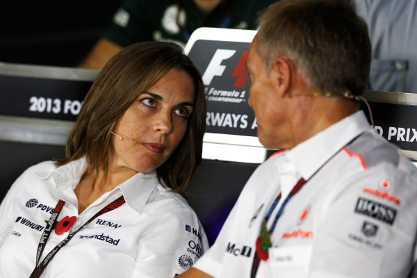 Yas Marina Circuit, Abu Dhabi, United Arab Emirates. Friday 1st November 2013. Claire Williams, Deputy Team Principal, Williams F1, and Martin Whitmarsh, Team Principal, McLaren, in the Friday Press Conference. World Copyright: Charles Coates/LAT Photographic. ref: Digital Image _N7T0493
