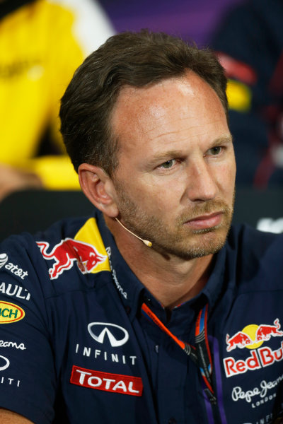 Monte Carlo, Monaco. Thursday 21 May 2015. Christian Horner, Team Principal, Red Bull Racing, in the team principals Press Conference. World Copyright: Alastair Staley/LAT Photographic. ref: Digital Image _79P0182