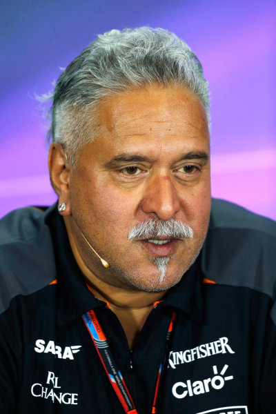 Silverstone Circuit, Northamptonshire, England. Friday 3 July 2015. Vijay Mallya, Team Principal and Managing Director, Force India, in the team principals Press Conference. World Copyright: Andrew Ferraro/LAT Photographic ref: Digital Image _FER1977