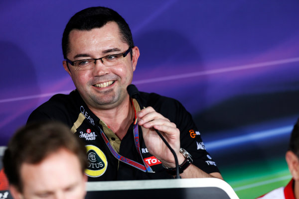 2012 Indian Grand Prix - Friday Buddh International Circuit, New Delhi, India. 26th October 2012. Eric Boullier, Team Principal, Lotus F1, in the Press Conference.  World Copyright:Andrew Ferraro/LAT Photographic ref: Digital Image _79P8436