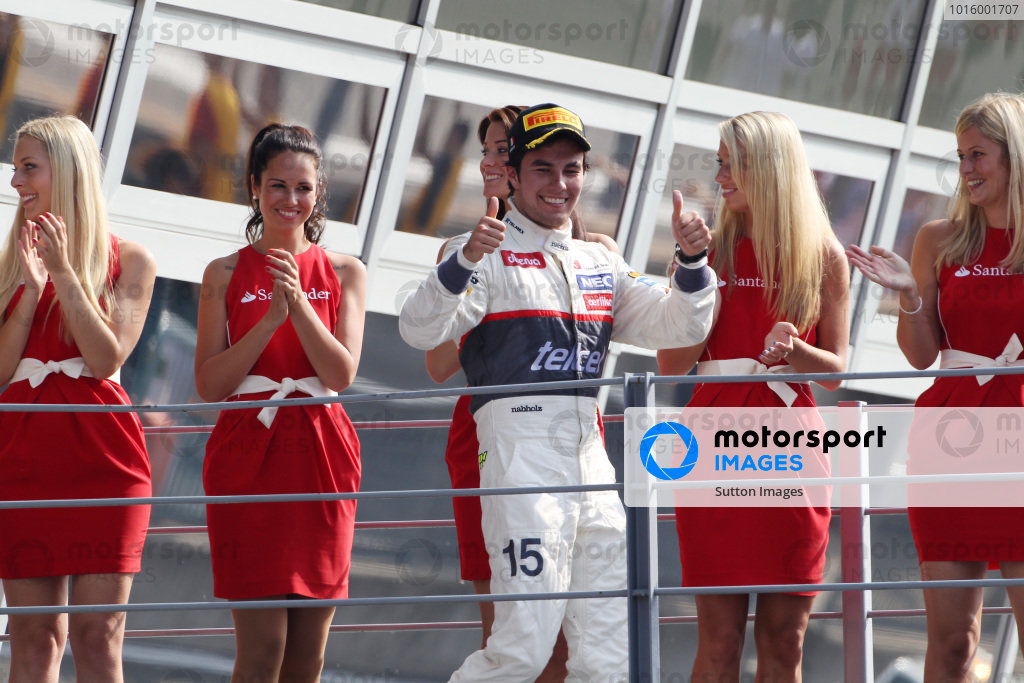 Second placed Sergio Perez (MEX) Sauber celebrates on the podium. Formula One World Championship, Rd 13, Italian Grand Prix, Race, Monza, Italy, Sunday 9 September 2012. 