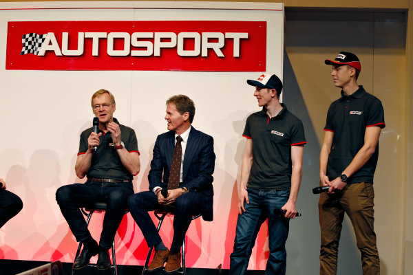 Autosport International Exhibition.  National Exhibition Centre, Birmingham, UK. Thursday 14 January 2016.  Ari Vatanen, Malcolm Wilson, Elfyn Evans and Max Vatanen on the Autosport stage. World Copyright: Sam Bloxham/LAT Photographic. ref: Digital Image _SBL5626