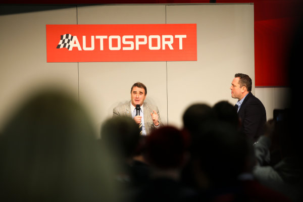 Autosport International Exhibition. National Exhibition Centre, Birmingham, UK. Sunday 14th January 2018. Nigel Mansell talks to Henry Hope-Frost on the Autosport Stage.World Copyright: Mike Hoyer/JEP/LAT Images Ref: MDH19936