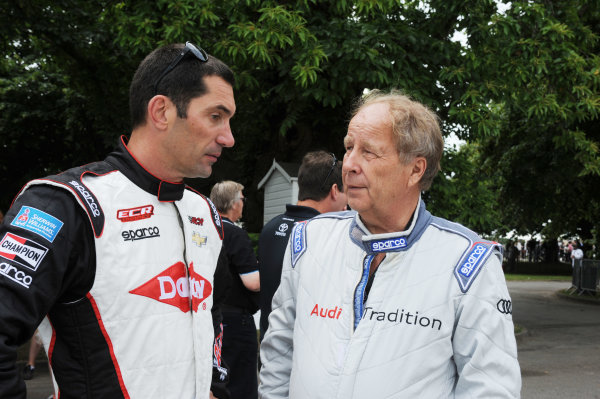2014 Goodwood Festival of Speed Goodwood Estate, West Sussex, England 26th - 29th June 2014 Hannu Mikkola and Max Papis.  World Copyright: Jeff Bloxham/LAT Photographic ref: Digital Image DSC_7823