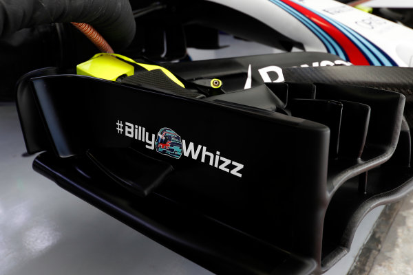 Sochi Autodrom, Sochi, Russia. Friday 28 April 2017. The Billy Whizz hashtag logo in support of recently injured F4 racer Billy Monger, as seen on the Williams front wing. World Copyright: Glenn Dunbar/LAT Images ref: Digital Image _X4I5481