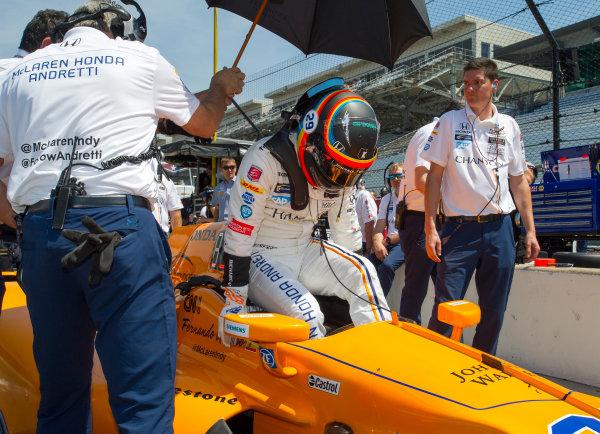 Verizon IndyCar Series Indianapolis 500 Practice Indianapolis Motor Speedway, Indianapolis, IN USA Monday 15 May 2017 Fernando Alonso, McLaren-Honda-Andretti Honda World Copyright: Geoffrey M. Miller LAT Images
