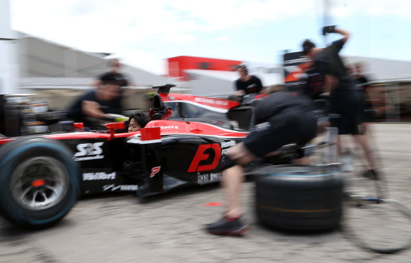 2017 FIA Formula 2 Round 2. Circuit de Catalunya, Barcelona, Spain. Thursday 11 May 2017. Nobuharu Matsushita, ART Grand Prix during pitstop practice Photo: Jed Leicester/FIA Formula 2. ref: Digital Image JL1_9017