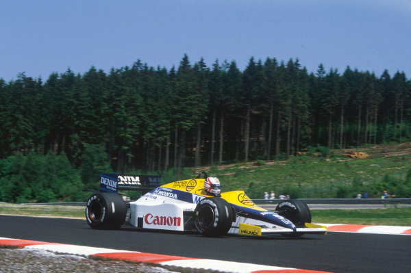 Spa-Francorchamps, Belgium. 13th - 15th September 1985.Nigel Mansell (Williams FW10-Honda), 2nd position, action.World Copyright: LAT Photographic.Ref:  85BEL