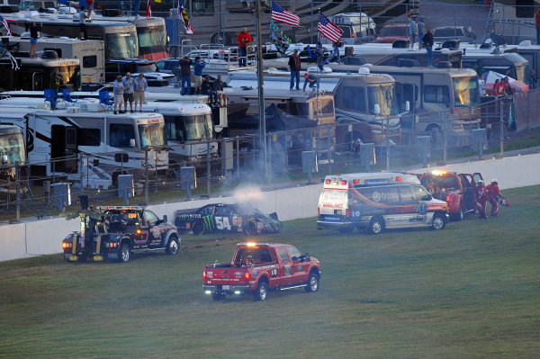 20-21 February, 2015, Daytona Beach, Florida USA The car of Kyle Busch, Monster Energy Toyota Camry comes to a rest against the turn 1 inside wall after crashing in the closing laps. ?2015, F. Peirce Williams LAT Photo USA