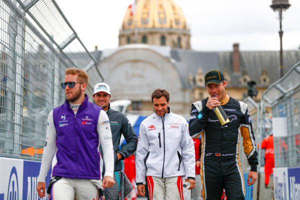 Sam Bird (GBR), DS Virgin Racing, DS Virgin DSV-03, Nelson Piquet Jr. (BRA), Panasonic Jaguar Racing, Jaguar I-Type II, Jérôme d'Ambrosio (BEL), Dragon Racing, Penske EV-2, and Andre Lotterer (BEL), TECHEETAH, Renault Z.E. 17.