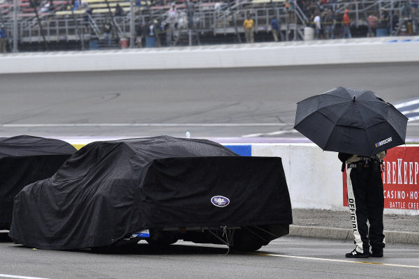 A NASCAR official during the rain delay.