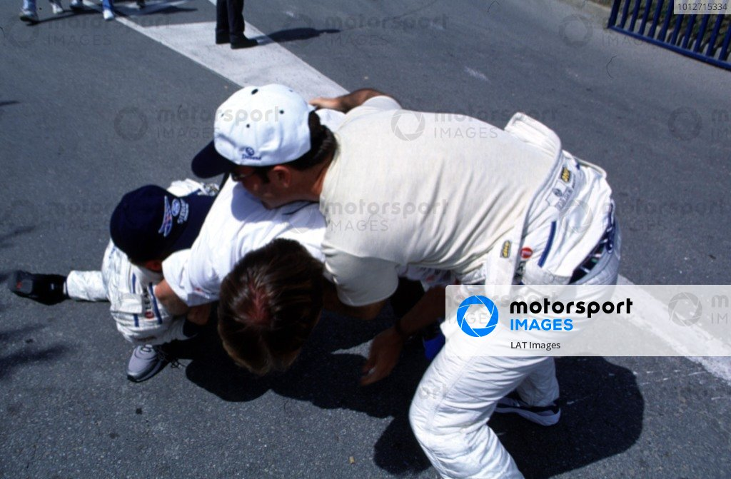 1999 Spanish Grand Prix.Catalunya, Barcelona, Spain.28-30 May 1999.Stewart Ford team mates Johnny Herbert and Rubens Barrichello