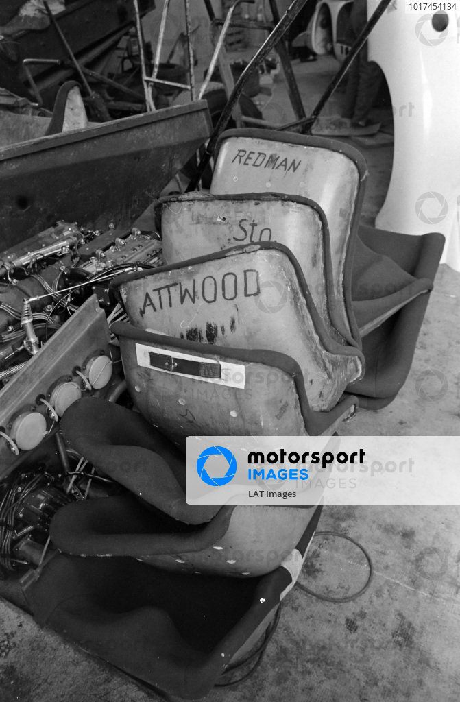Seats belonging to Porsche drivers including Brian Redman and Richard Attwood.