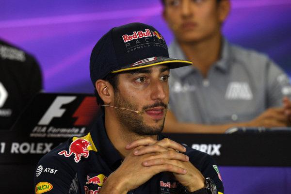 Daniel Ricciardo (AUS) Red Bull Racing in the Press Conference at Formula One World Championship, Rd1, Australian Grand Prix, Preparations, Albert Park, Melbourne, Australia, Thursday 17 March 2016.