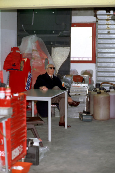 Enzo Ferrari during testing at Imola, making what would be his final visit to a Ferrari Formula 1 pit garage.