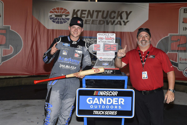 #17: Tyler Ankrum, DGR-Crosley, Toyota Tundra Academy Sports + Outdoors / RAILBLAZA celebrates his win