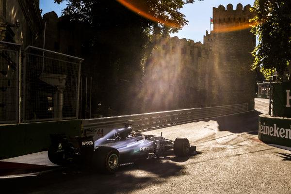 Lewis Hamilton (GBR) Mercedes-Benz F1 W08 Hybrid at Formula One World Championship, Rd8, Azerbaijan Grand Prix, Qualifying, Baku City Circuit, Baku, Azerbaijan, Saturday 24 June 2017. BEST IMAGE