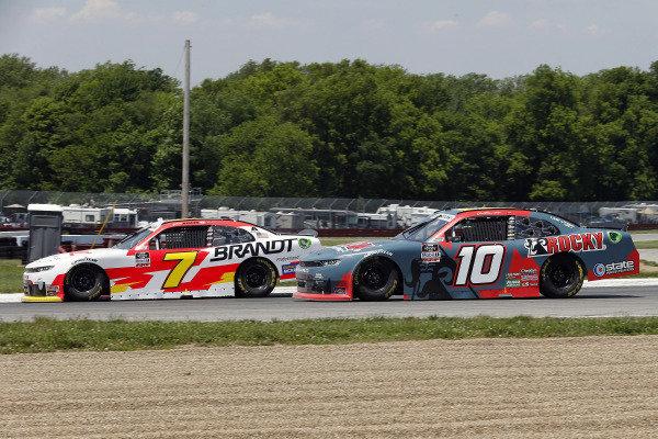 #7: Justin Allgaier, JR Motorsports, Chevrolet Camaro BRANDT and #10: Jeb Burton, Kaulig Racing, Chevrolet Camaro Rocky Boots