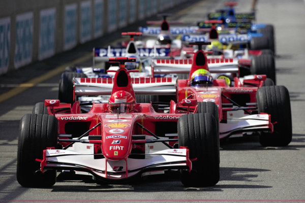 Michael Schumacher, Ferrari 248 F1 heads the Top 10 out of the pitlane for the final part of qualifying.