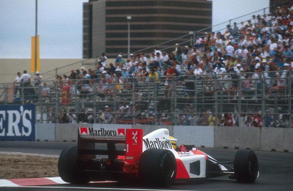 1991 United States Grand Prix.Phoenix, Arizona, U.S A.8-10 March 1991.Ayrton Senna (McLaren MP4/6 Honda) 1st position.Ref-91 USA 24.World Copyright - LAT Photographic