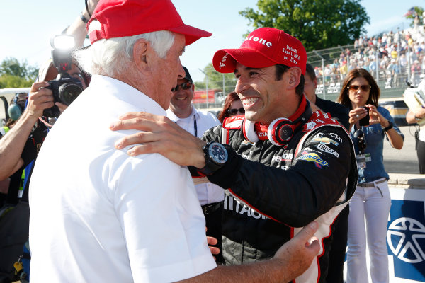 1 June, 2014, Detroit, Michigan, USA Winner Helio Castroneves is congratulated by  Roger Penske ©2014, Michael L. Levitt LAT Photo USA