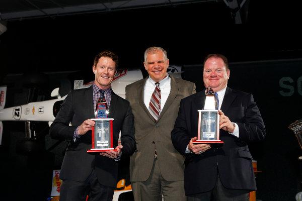 6 December, 2012, Indianapolis, Indiana, USA Scott Dixon receives 3rd place trophy from Art StCyr of Honda.(c) 2012, Michael L. Levitt LAT Photo USA