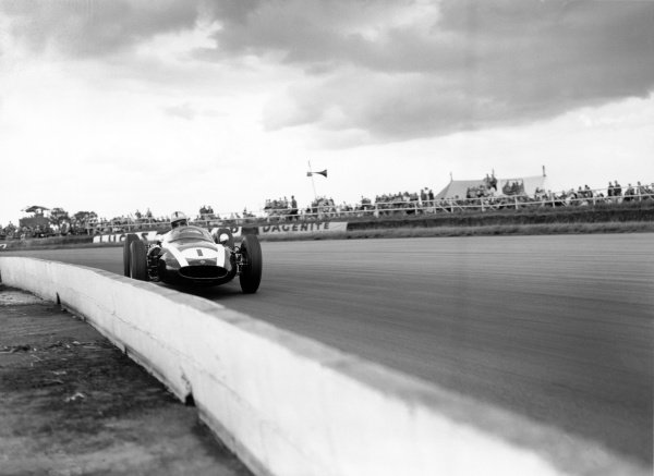 Silverstone, Great Britain. 16th July 1960. Jack Brabham (Cooper T53-Climax), 1st position, action. World Copyright: LAT Photographic. Ref: Autocar Glass Plate C59317.
