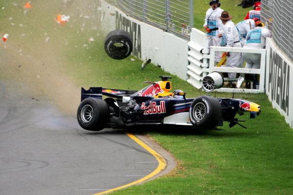Christian Klien (AUT) Red Bull Racing RB2 crashes out of the race. Formula One World Championship, Rd 3, Australian Grand Prix, Race, Albert Park, Melbourne, Australia, 2 April 2006.  DIGITAL IMAGE BEST IMAGE