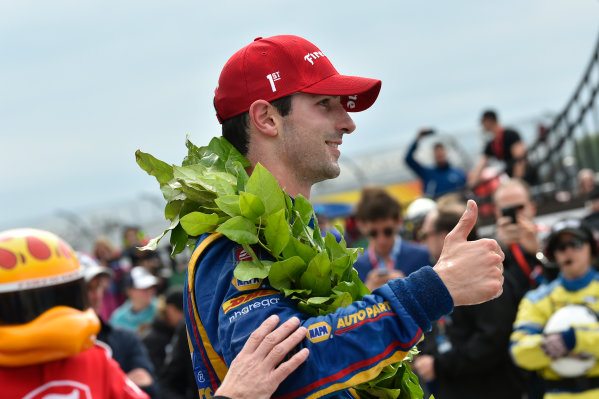 Verizon IndyCar Series IndyCar Grand Prix at the Glen Watkins Glen International, Watkins Glen, NY USA Sunday 3 September 2017 Alexander Rossi, Curb Andretti Herta Autosport with Curb-Agajanian Honda celebrates the win in victory lane. World Copyright: Scott R LePage LAT Images ref: Digital Image lepage-170903-wg-7960