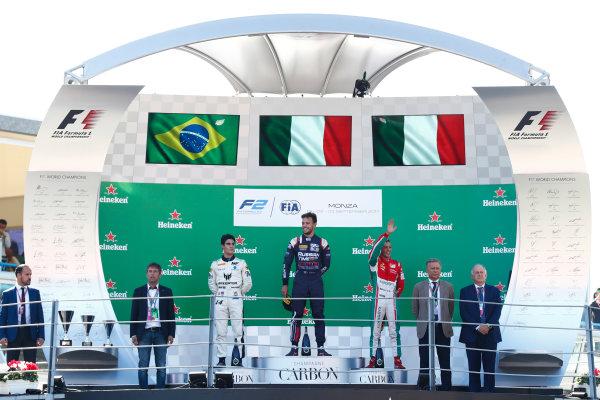 Autodromo Nazionale di Monza, Italy. Sunday 3 September 2017 Luca Ghiotto (ITA, RUSSIAN TIME). Sergio Sette Camara (BRA, MP Motorsport). and Antonio Fuoco (ITA, PREMA Racing).  Photo: Mauger/FIA Formula 2 ref: Digital Image _J6I4673