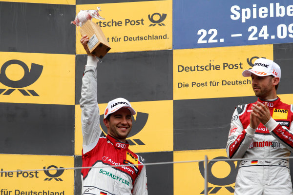 2017 DTM Round 8  Red Bull Ring, Spielberg, Austria  Sunday 24 September 2017. Podium: second place Mike Rockenfeller, Audi Sport Team Phoenix, Audi RS 5 DTM  World Copyright: Alexander Trienitz/LAT Images ref: Digital Image 2017-DTM-RBR-AT3-2753