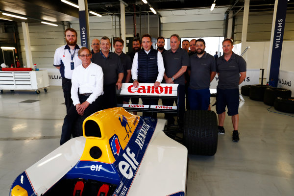 Williams 40 Event Silverstone, Northants, UK Friday 2 June 2017. A group photo next to the Williams FW14B Renault. Dickie Stanford sits on the right rear wheel, and Jonathan Williams stands behind the rear wing. World Copyright: Sam Bloxham/LAT Images ref: Digital Image _W6I6819