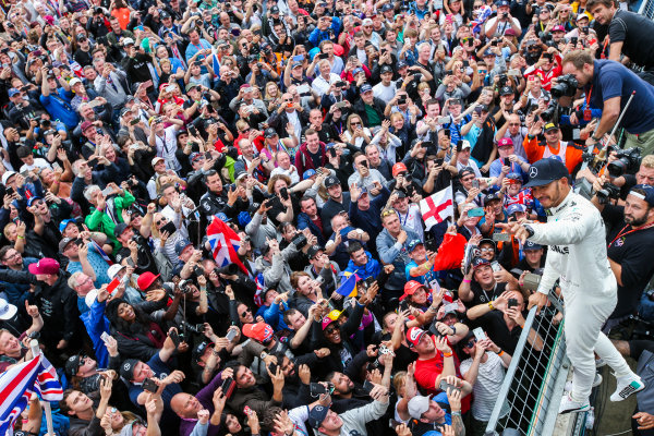 Silverstone, Northamptonshire, UK.  Sunday 16 July 2017. Lewis Hamilton, Mercedes AMG, 1st Position, celebrates with an enormous home crowd. World Copyright: Coates/LAT Images  ref: Digital Image AN7T3991